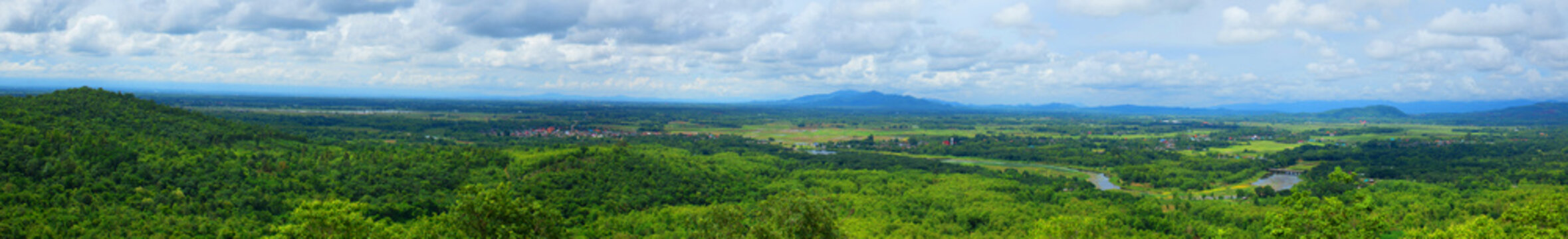 panorama of nature mountain view wide landscape rural country in Thailand.