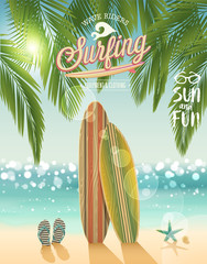 Wall Mural - Surfing poster with tropical beach background.