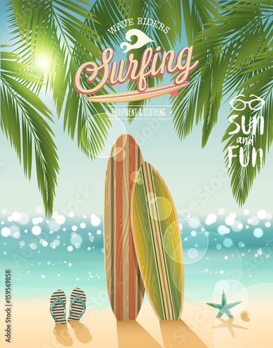 Wall mural Surfing poster with tropical beach background.