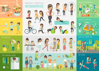 Fototapeta Healthy lifestyle infographic set with charts and other elements. obraz