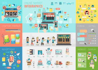 Online Market Infographic set with charts and other elements.