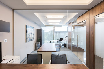 Archtectural interior of modern corporate business office.