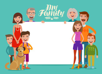 Big happy family, banner. People, parents and children. Design template for invitation or congratulations. Cartoon vector illustration