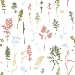 Seamless pattern with plants and leaves silhouettes