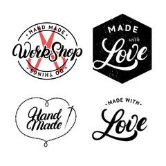 Set of hand made hand written lettering logo, label, badge, emblem.