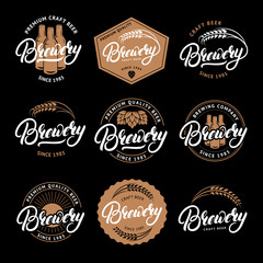 Set of Brewery hand written lettering logo, label, badge, emblem for beer house, bar, brewing company.