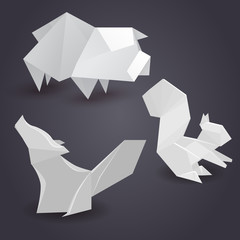 Set of paper origami figures of animals. Vector element for your creativity