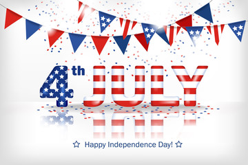 Greeting banner Independence Day of America. Horizontal white background with a dimensional inscription 4 July painted in the colors of the national flag and falling confetti. Stock vector