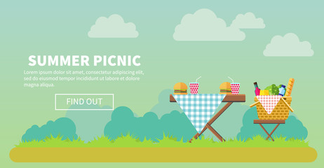 Outdoor picnic in park banner