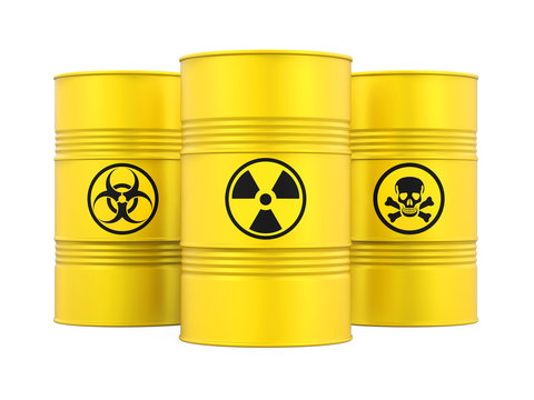 Biohazard, Radioactive and Poisonous Barrels Isolated