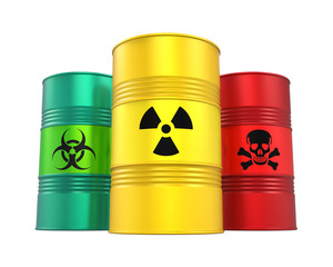 Biohazard, Radioactive and Poisonous Barrels Isolated