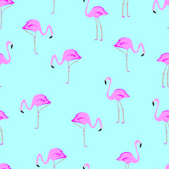 Seamless flamingo pattern vector illustration.