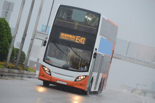 Hong Kong Bus in Tropical Storm