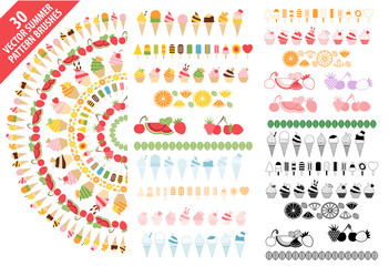 Summer vector pattern brushes with colorful ice cream, popsicle, desserts and fruits set