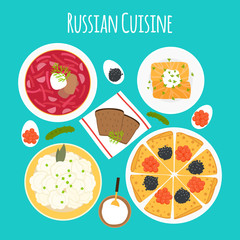 Vector illustration of dishes of Russian cuisine. Borscht, pelmeni, cabbage rolls, pancakes