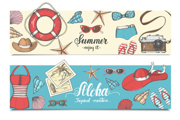 Vector vintage set of summer banners. Hand drawn vector elements. Can be used as poster, flyer, brochure, web design.