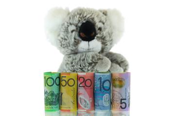 Australia Banknote with blurred Koala background. Different Australian dollars money