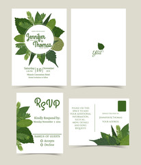 Set of wedding invitation card composed of a variety of leaves round in a circle. You can change the text. Both front and back. RSVP Card set .Vector/Illustration