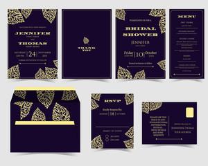 Set of Gold Leaves Wedding Invitation card on Purple Background.RSVP Card.Bridal Shower Card.Vector/Illustration
