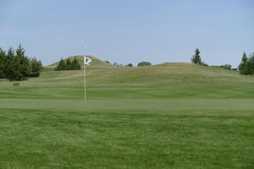 empty golf playground with green grass
