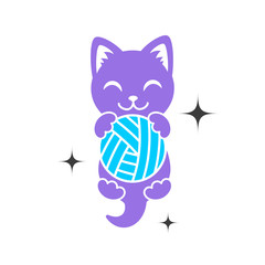 A purple shape of kitten with ball in paws. Cat logo. Simple animal logotype for shop and handmade company