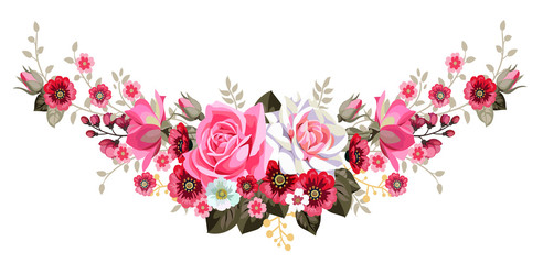 Garland with roses and cute small flowers 1