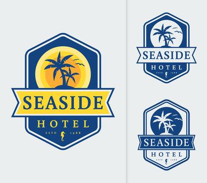 Seaside hotel logo emblems.