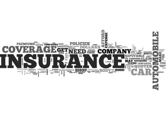 YOUR CAR INSURANCE TEXT WORD CLOUD CONCEPT