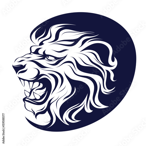 Isolated tattoo, vector illustration, profile silhouette head of a roaring lion