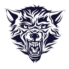 Emblem, logo, tattoo, head of a wolf