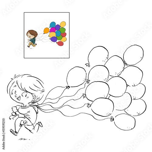 Worksheet. nio con globos dibujo para colorear Stock photo and royaltyfree