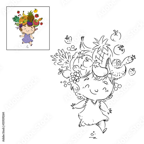 niña con frutas dibujo para colorear\
