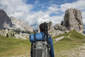 Italy, Man trekking in the Dolomtes
