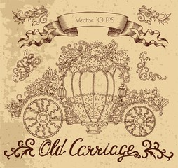 Vintage graphic illustration with old carriage decorated with flowers