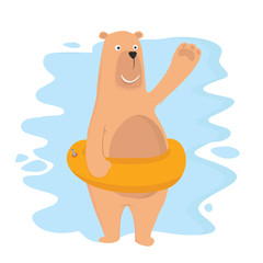 funny bear swimming at holiday with ring cartoon vector illustration