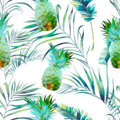 Summer palm tree and palm leaves seamless pattern. Watercolor green branches on white background. Hand drawn exotic wallpaper design