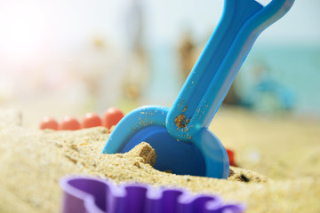 Children's set for playing with sand on the beach. summer rest