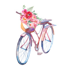 Watercolor bicycle with bouquet of flowers. Hand painted retro design. Summer creative illustration