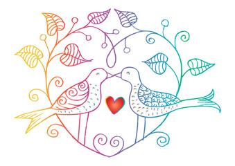 Hand-drawn birds on garden branches