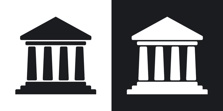 Vector bank building icon. Two-tone version on black and white background