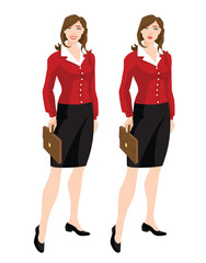 Vector illustration of corporate dress code. Business women or teacher in beige jacket, white blouse, black formal skirt with different emotions