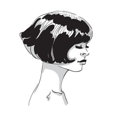 Vector hand draw illustration of young woman head with bob haircut  isolated on white background. Fashion people sketch