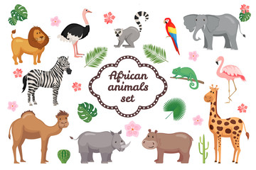 African animals set.