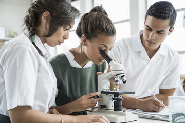 Students using microscope in lab