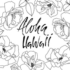 Hand drawn phrase Aloha Hawaii. Lettering design for posters, t-shirts, cards, invitations, banners. Vector illustration. Handwritten inscription.
