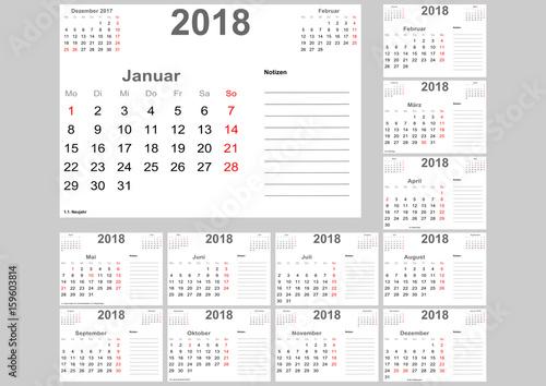 kalender 2018 f r deutschland mit feiertagen platz f r. Black Bedroom Furniture Sets. Home Design Ideas