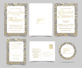 Set of Wedding invitation Card /RSVP Card /Bridal Shower Card/ Sticker and Marble style. Gold color tone.Vector/Illustration.