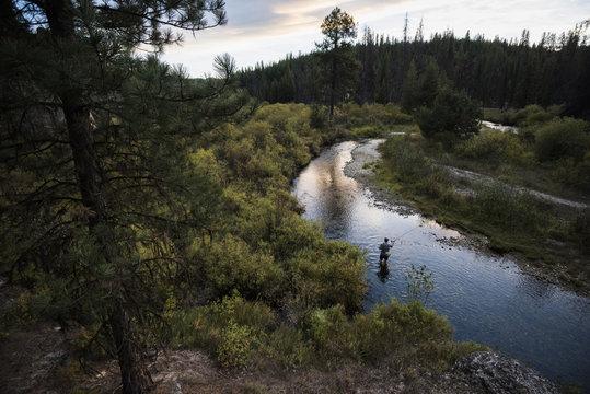 Man in river fly fishing, near Lolo Pass, Bitterroot Mountains, Missoula, Montana, USA