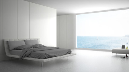 Minimalist bedroom with big window on sea panorama, white interior design