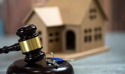 Model of house and a gavel.. Real Estate Law concept.